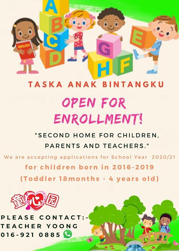 Taska Anak Bintangku Nursery Enrollment 2020-2021 | Mettaland Sdn Bhd