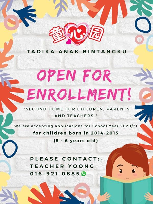 Tadika Anak Bintangku Preschool Enrollment 2020-2021 | Mettaland Sdn Bhd